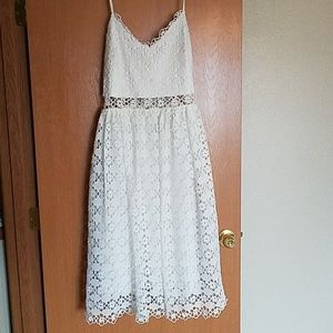 White Eyelet Lace Midi Dress